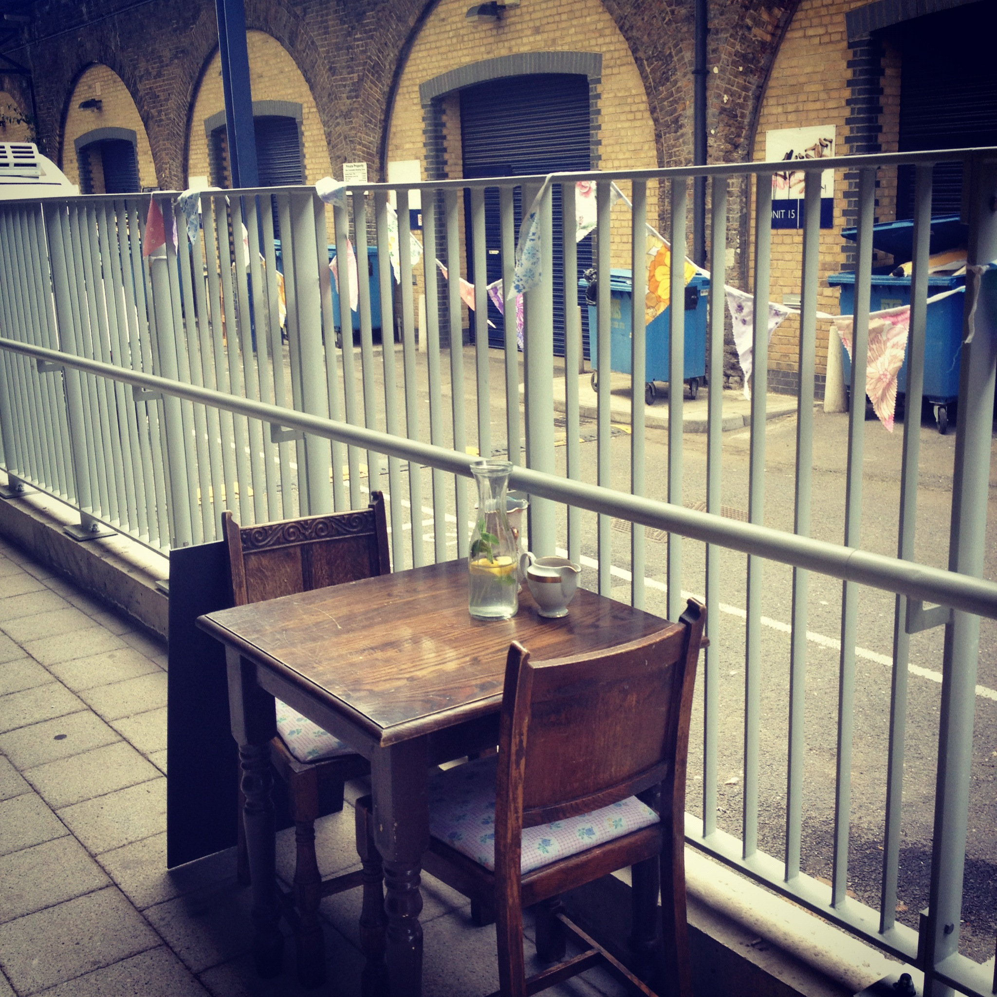 Sit 'Al Fresco' with the bunting at the cafe